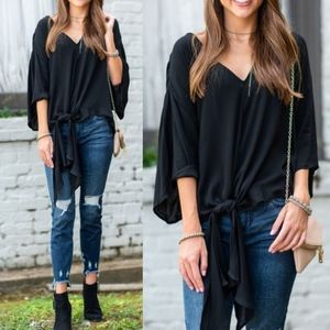 SUSAN Front Tie Top - BLACK